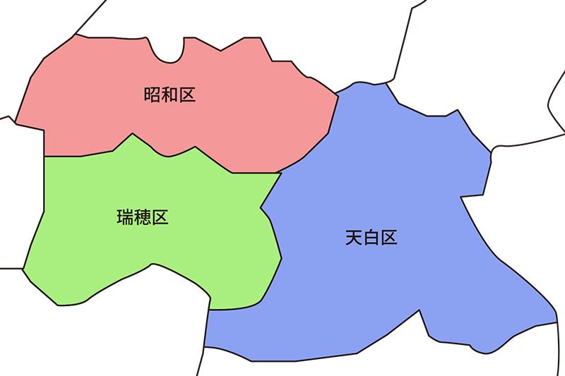 地図 昭和区・瑞穂区・天白区